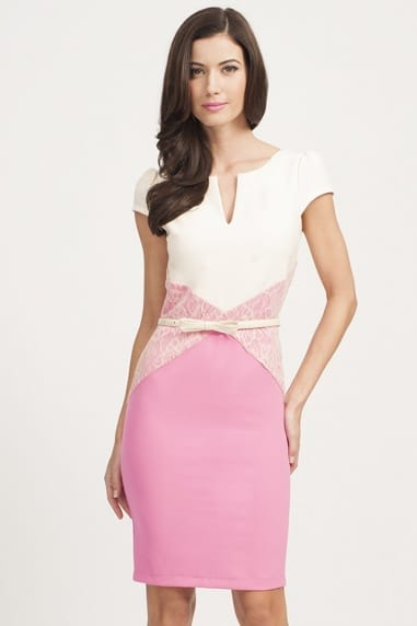 Pink & Cream Lace Panel Bodycon Dress