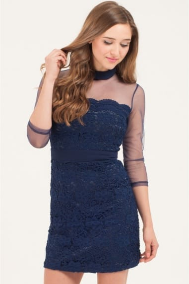 Navy Lace Overlay Mesh Shift Dress