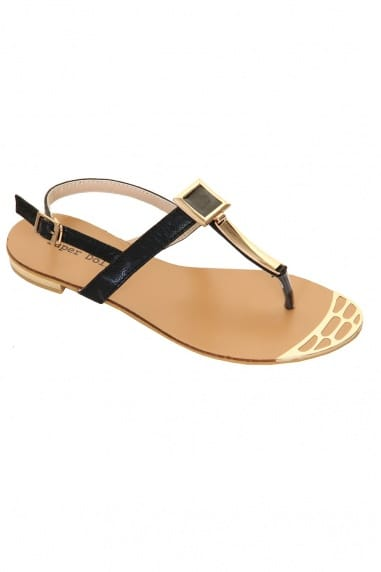 Black & Gold Metal Square T Bar Sandal