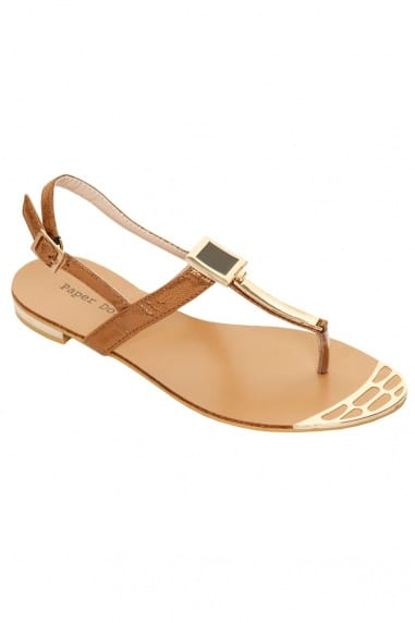 Bronze & Gold Metal Square T Bar Sandal