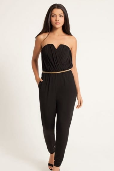 Black Crossover Belted Bandeau Jumpsuit