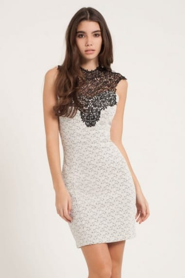 Grey & Black Lace Overlay Bodycon Dress