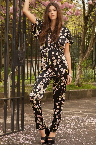Floral Print exposed Back Jumpsuit