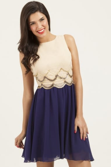 Cream & Navy Embellished Scallop Dress