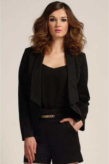 Black Textured Long Sleeve Blazer