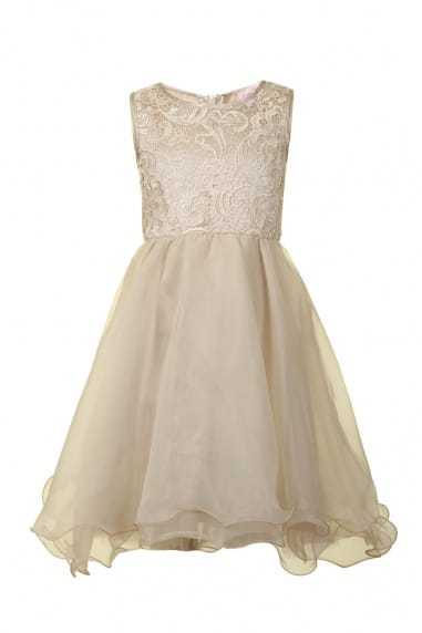Cream Floral Lace Party Dress