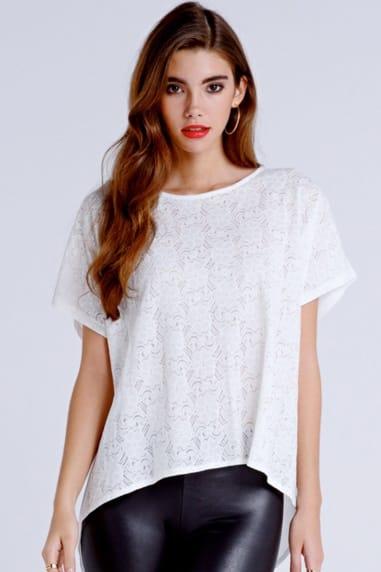 White Floral Lace Front Top