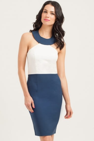 Navy/Cream Halter Dress