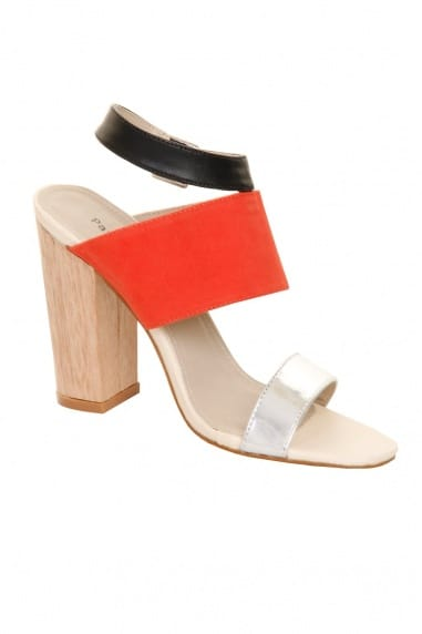 Red Suede & Metallic Peep Toe Wooden Heel