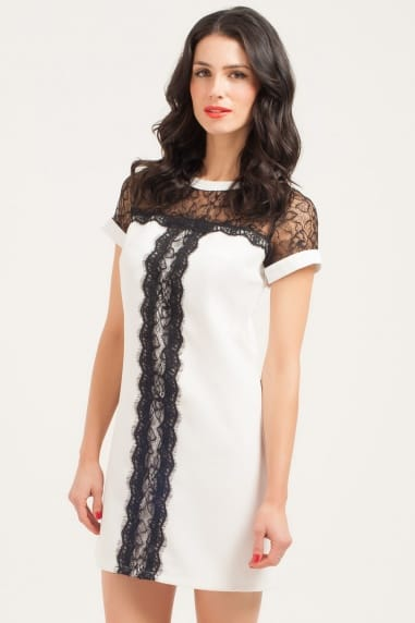 White & Black Lace Panel Shift Dress