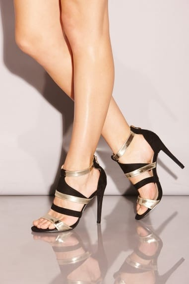 Strappy Black and Gold Stilettos
