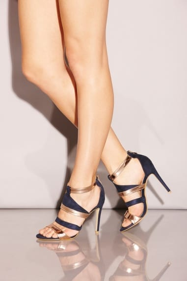 Strappy Blue and Gold Stilettos