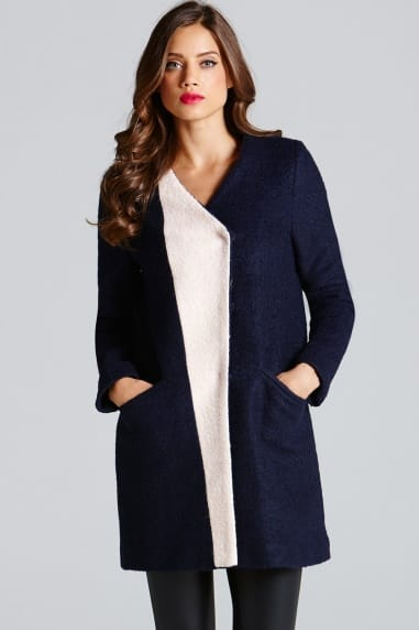 Blue Contrast Lapel Wool Coat