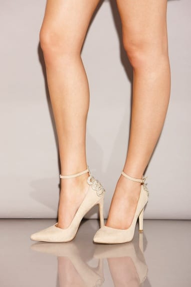 Nude Embellished Back Pointed Court Shoes
