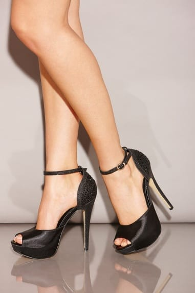 Black Diamante Peep Toe Strap Heels