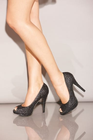 Black Diamante Peep Toe Heels