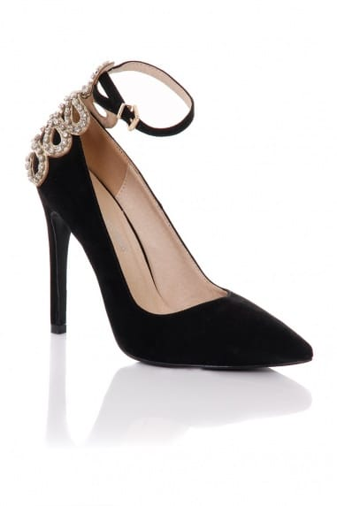 Black Embellished Back Pointed Court Shoes
