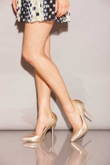 Gold Pointed Court Stilettos