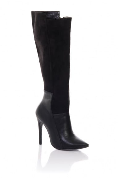 Black Mixed Texture Knee Boots