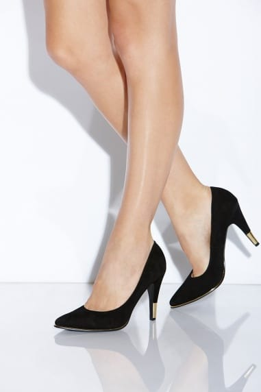 Black Pointed Metallic Trim Heels