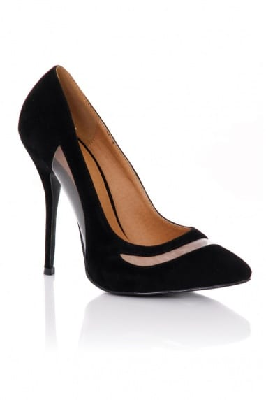 Black Pointed Mesh Cut Out Court Shoes