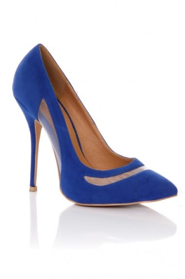 Blue Pointed Mesh Cut Out Court Shoes