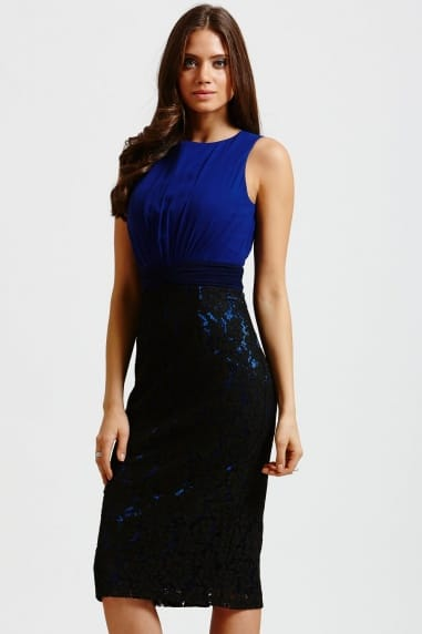 Blue and Black Lace Skirt Wiggle Dress