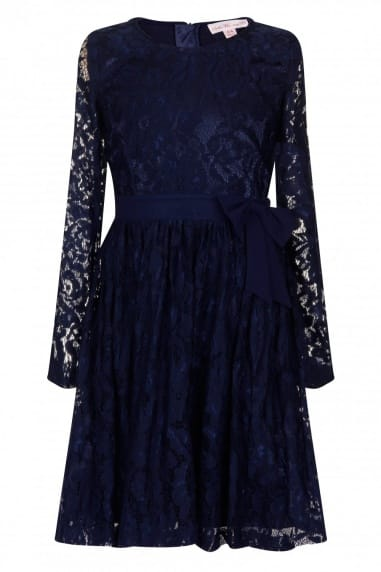 Navy Floral Lace Bow Dress