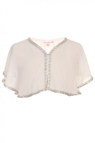 White Beaded Chiffon Cardigan
