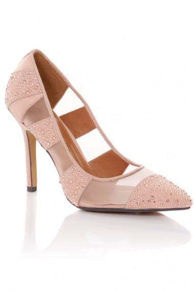 Nude Mesh Diamante Pointed Court Shoe