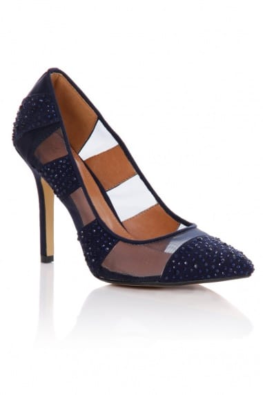 Blue Mesh Diamante Pointed Court Shoe