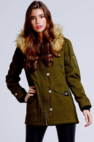 Khaki Fur Trim Hooded Parka Jacket