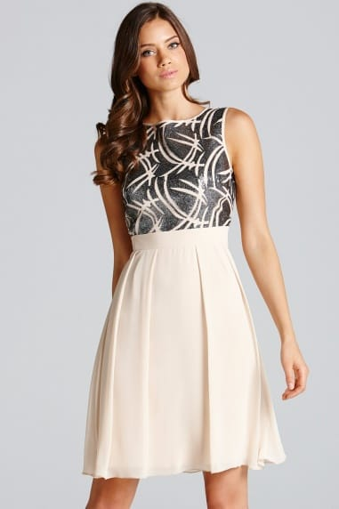 Cream Embellished Fit and Flare Dress