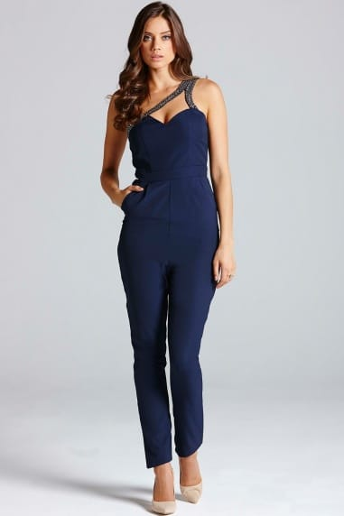 Navy One Shoulder Cut-Out Jumpsuit