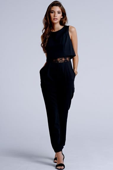Black 2 in 1 Floral Insert Jumpsuit