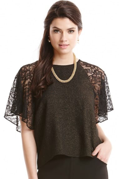 Black Glitter Lace Sleeve Top