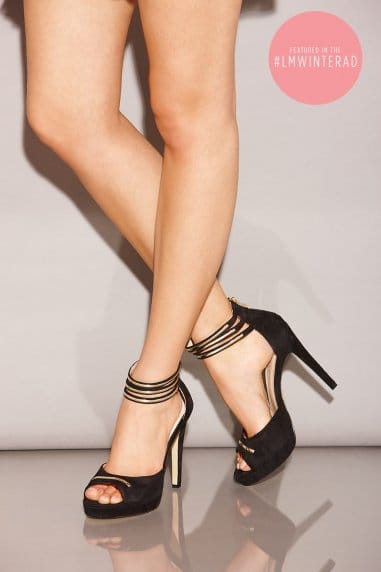 Black Double Ankle Strap Peep Toe Heels