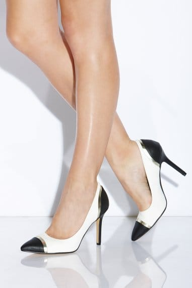 Black and White Perspex Court Heel