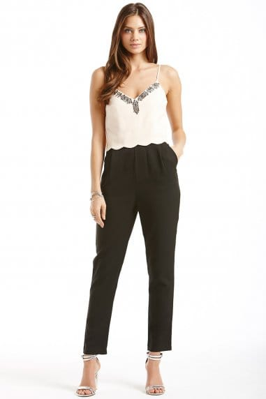 Nude and Black Embellished Scallop Trim Jumpsuit