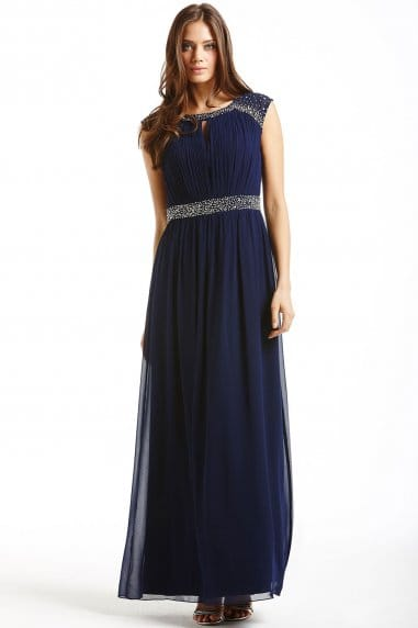 Navy Embellished Open Back Maxi Dress
