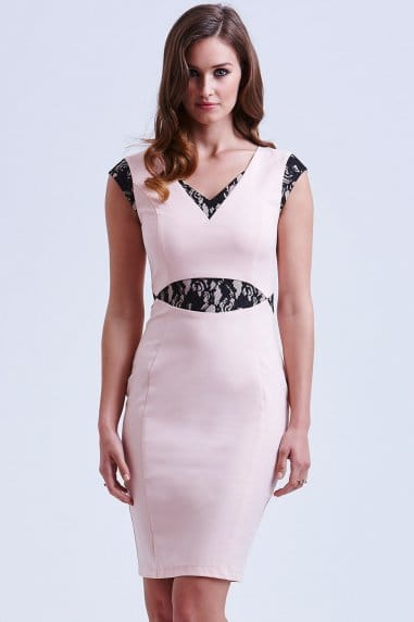 Pink and Black Cut Out Lace Dress