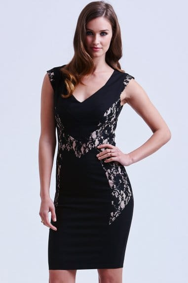 Black and Floral Panel Dress