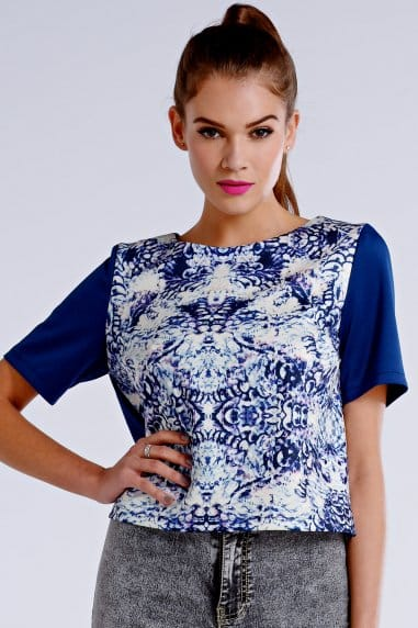 Blue and White Geo Mineral Print Top