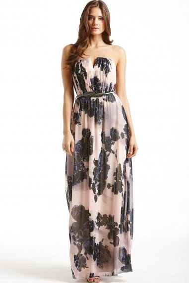 Nude and Navy Floral Maxi Dress