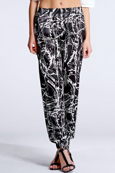 Black and White Splash Print Joggers