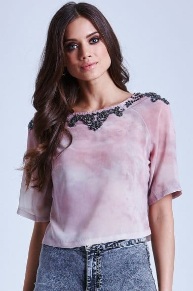 Pink and Cream Blur Embellished Top