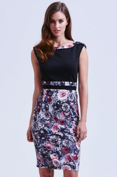 Black and Floral Bodycon Dress