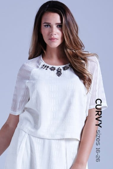 Curvy Sheer White Embellished Neck Top