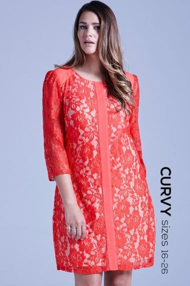 Curvy Coral Lace Overlay Tunic Dress
