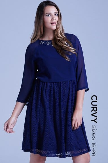 Curvy Navy Chiffon and Lace 2 in 1 Embellished Dress